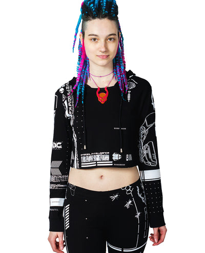 GIRLS NEO FUTURE CROP L/S TOP by Cyberdog - Rave clothing, festival fashion & clubwear.