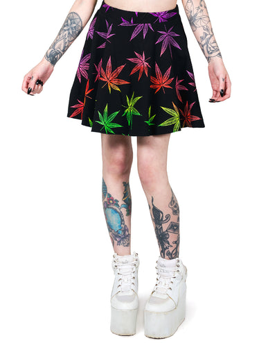 SKATER SKIRT MULTI LEAF by Cyberdog - Rave clothing, festival fashion & clubwear.