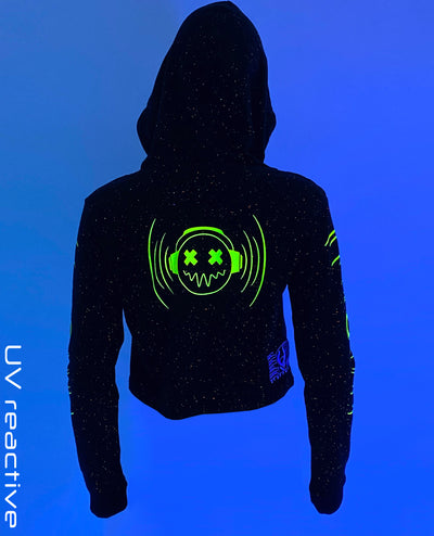 CROP FUTURE HOODY SMILEY BOOM by Cyberdog - Rave clothing, festival fashion & clubwear.