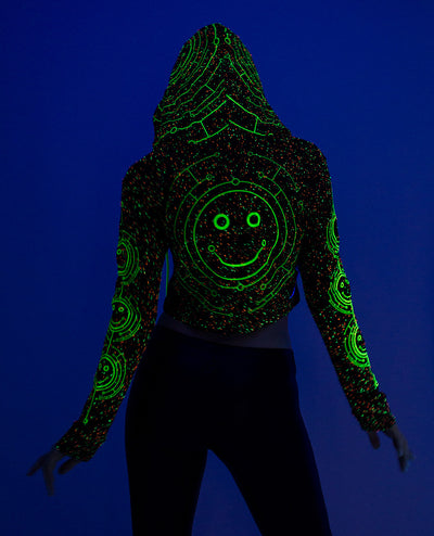 GIRLS TECFACE CROP L/S TOP by Cyberdog - Rave clothing, festival fashion & clubwear.