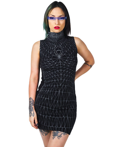 WIREFRAME HI NECK MINI DRESS