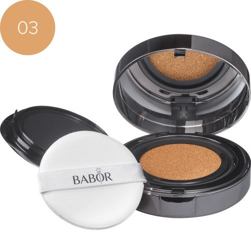 "Babor Cushion Foundation 03 almond. Flytende foundation ""on-the-go"" med ultralett tekstur og naturlig glow effekt."