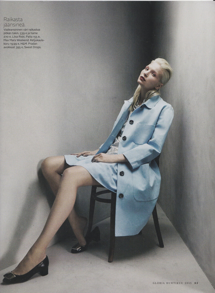 Cotton Linen Coat and Skirt featured in the April issue of Gloria Magazine