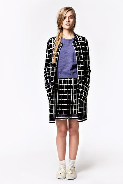 Square Jacquard Coat Cardigan
