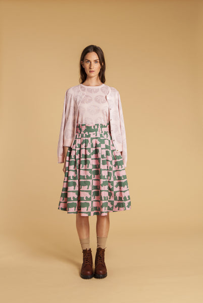 Rhino Check Linen Skirt