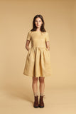 Honey Comb Gathered Linen Dress
