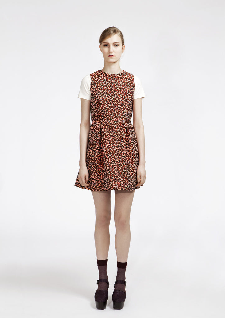 Leaf Jacquard Pinafore Dress