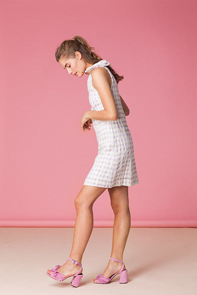 Checkered Cotton Linen V-Neck Dress
