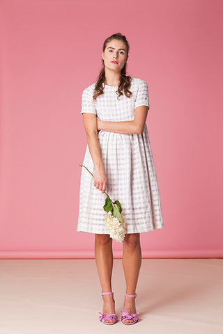 Checkered Cotton Linen Dress
