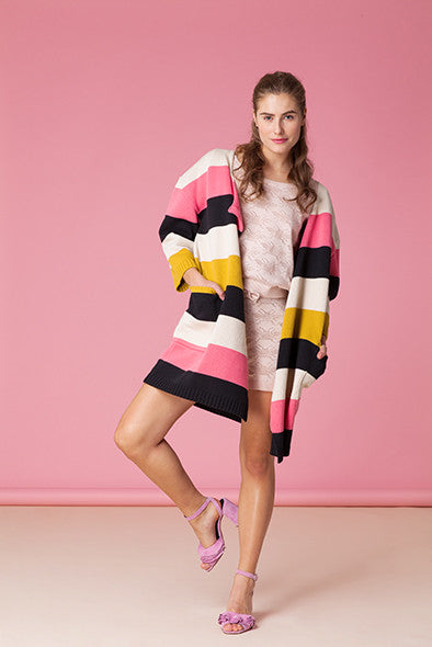 Chunky Stripe Knitwear Coat