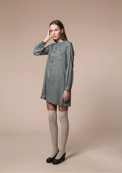 Wool Drill Placket Dress