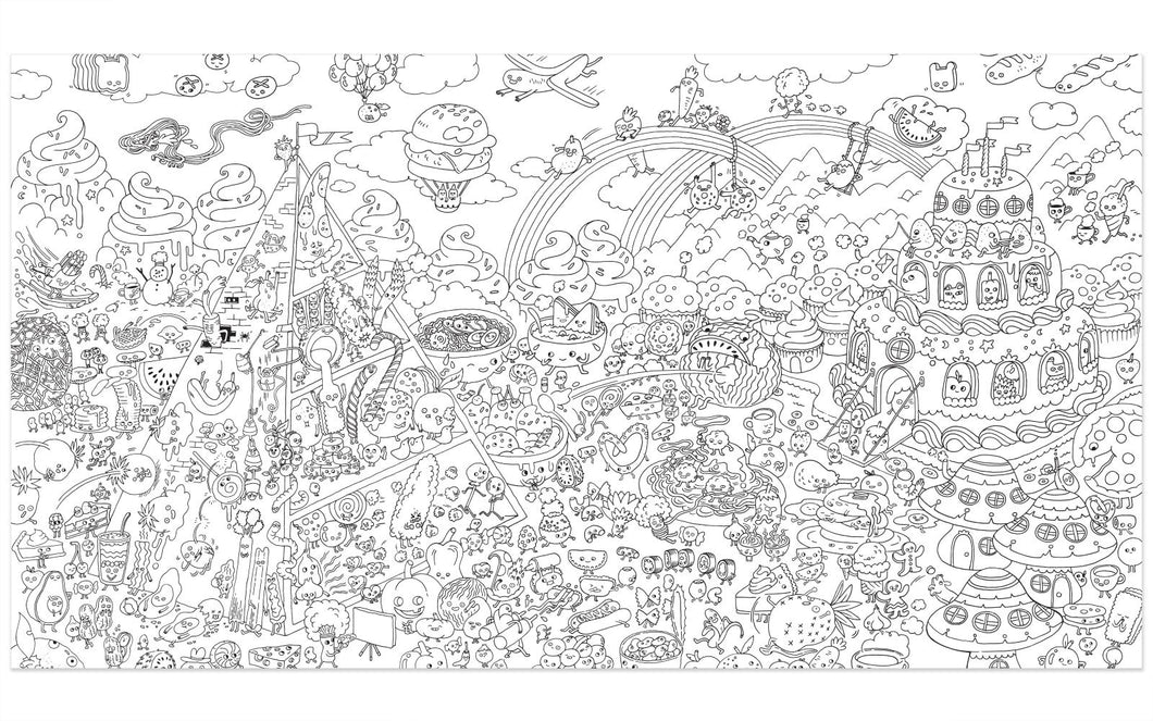 Food Fight - Really Big Coloring Poster – Pirasta NYC