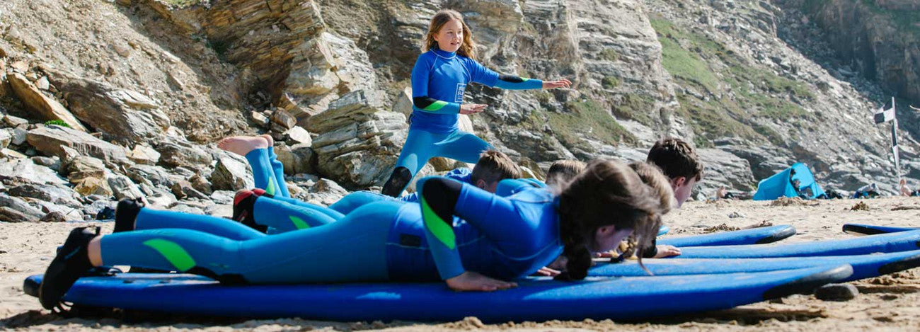 End of Lesson fun at Watergate Bay with Blue Surf School