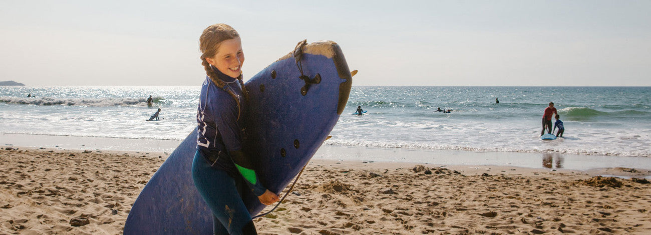 Group surf lesson at Watergate Bay with Blue Surf School