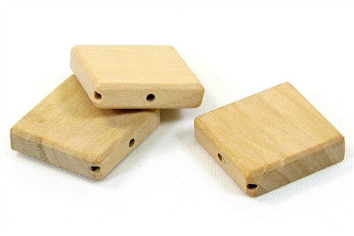 1 in. Square Flat Wood Beads