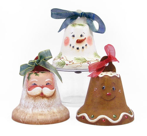 Santa, Snowman, Gingerbread Bell Ornaments E-Pattern