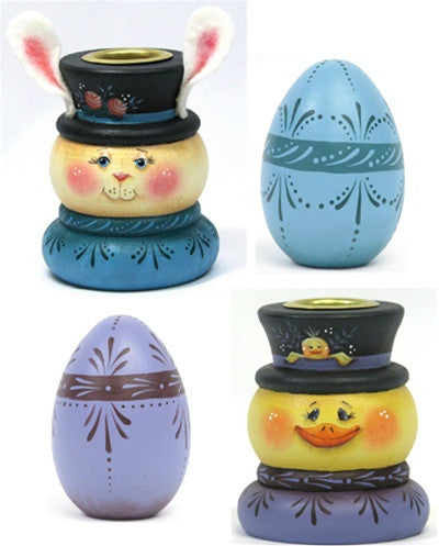Easter Bunny & Chick Candle Holders & Eggs E-Pattern