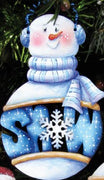 "Bates ""Snow"" Snowman Wood Ornament"