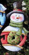 "Carson ""Joy"" Snowman Wood Ornament"