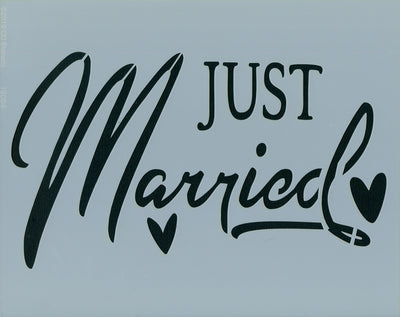 Just Married Stencil