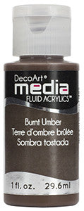 DecoArt Media Fluid Acrylics - Burnt Umber Fluid Acrylic (Series 1) 1 oz.