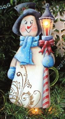 Lamp Post Larry Snowman Ornament