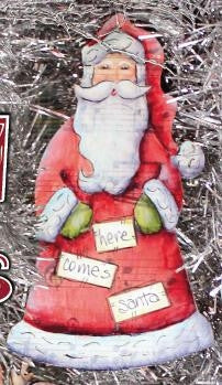 Santa Tinsel Tune Ornament