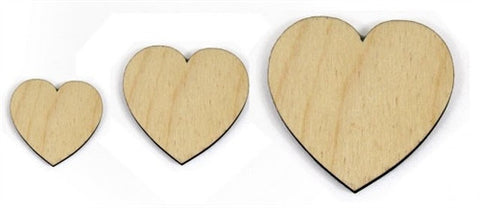 3 in. Wood Hearts