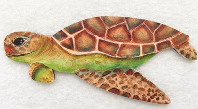 "4-3/8"" MDF Sea Turtle Ornament"