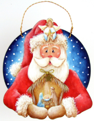 Santa Nativity Ornament