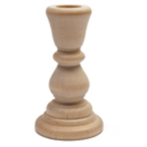 Wood Candlestick 4""
