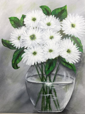 White Mums by Lonna Lamb