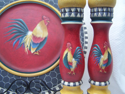 Rooster Salt & Pepper and Plate Set E-Pattern By Linda Hollander