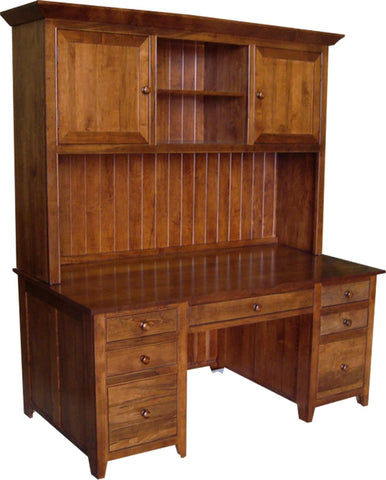 "A Series 72"" Office Desk with hutch in Brown Maple"
