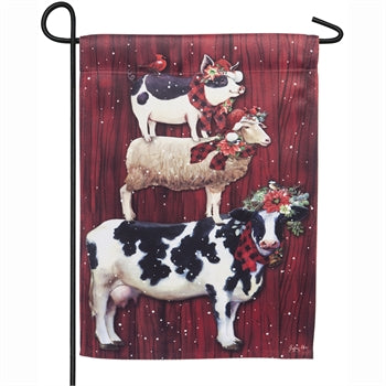 Garden Flag - Christmas Farm Animals