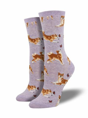 Socks Ladies purple shiba