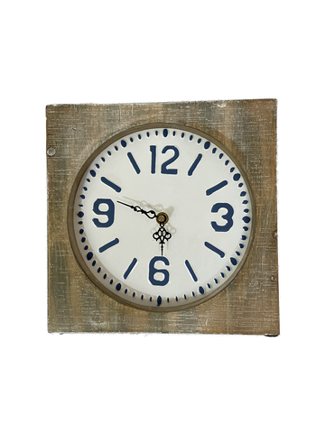 Clock Standing Distressed Wood & Blue