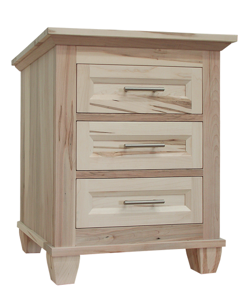 Algonquin 3 drawer nightstand in unfinished brown maple