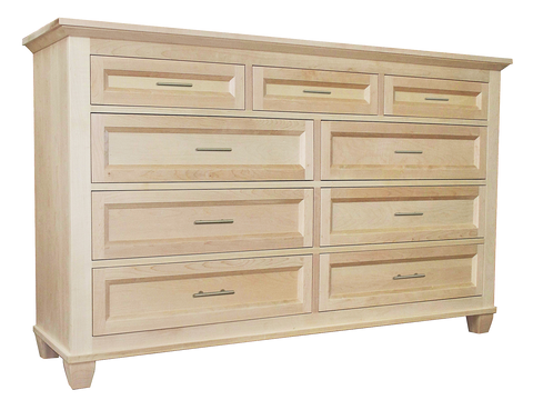 Algonquin 9 drawer dresser in unfinished brown maple