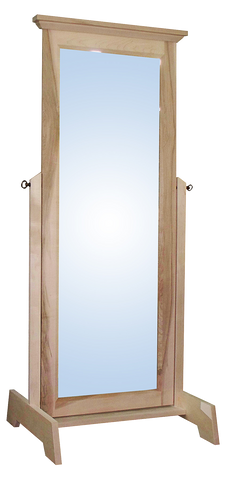 Algonquin cheval mirror in unfinished brown maple
