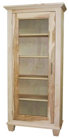 Algonquin bookcase with door in unfinished brown maple