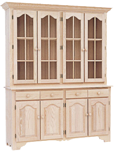 Legacy 4 Long Cathedral Door Buffet with Hutch