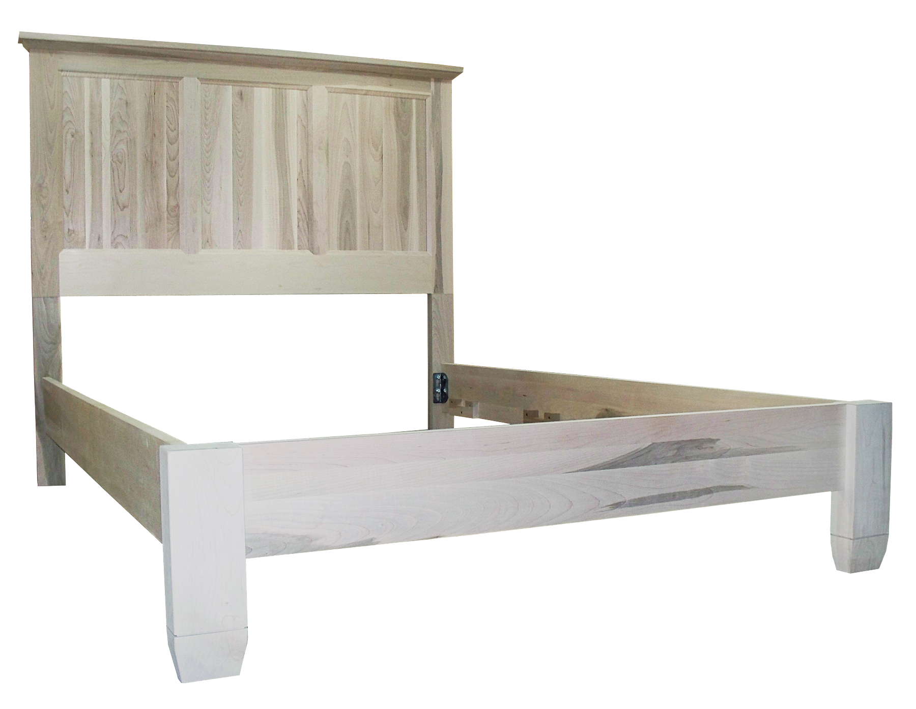 Algonquin bed with wrap around footboard in unfinished brown Maple