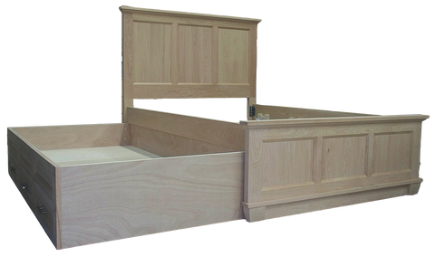 Algonquin Trundle Bed with Drawers in unfinished Brown Maple