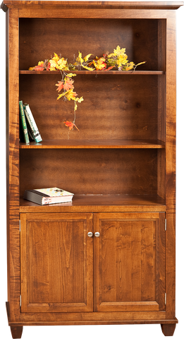 Algonquin Bookcase with Doors Finished in Brown Maple