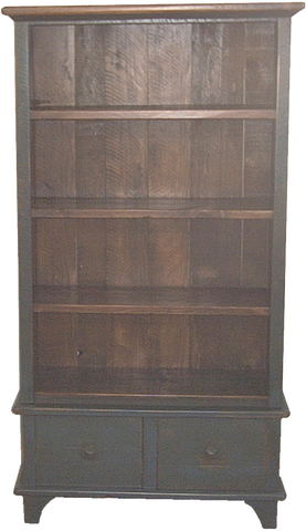 Rustic Bookcase with 2 Drawers