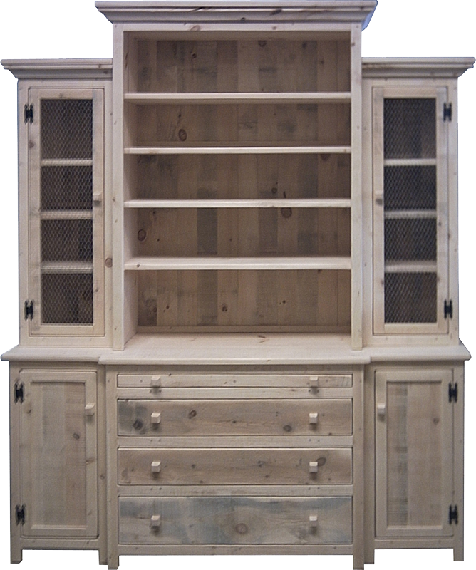 Rustic Break Front Buffet with Hutch
