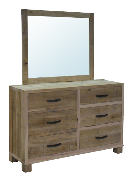 Backwoods 6 Drawer Dresser with Landscape Mirror in unfinished rustic wormy maple