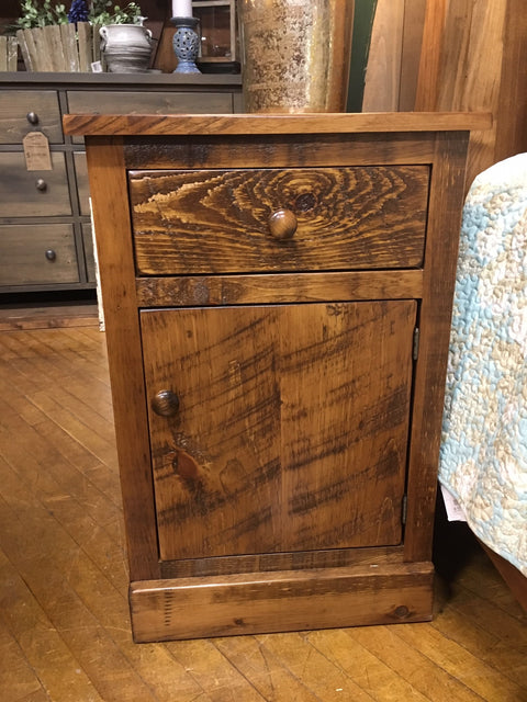 Barnboard Nightstand 1 Drawer 1 Door Rustic Pine