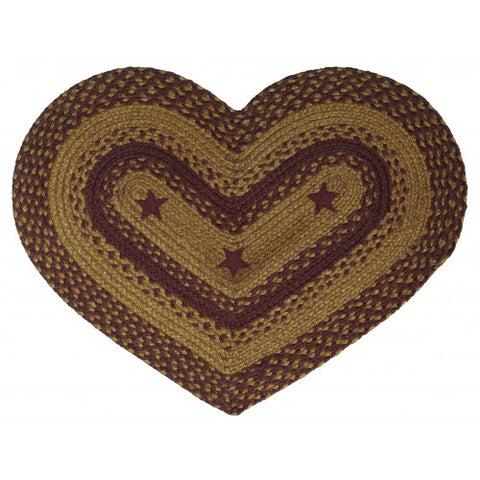 "Braided Jute Heart Rug 20"" x 30"""
